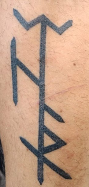 1c3367d6f14d3 Bind Rune tattoo: The Ear rune at the top means the grave. Gothi does not  really mess with the Anglo-Saxon runes but in this case it was imperative.